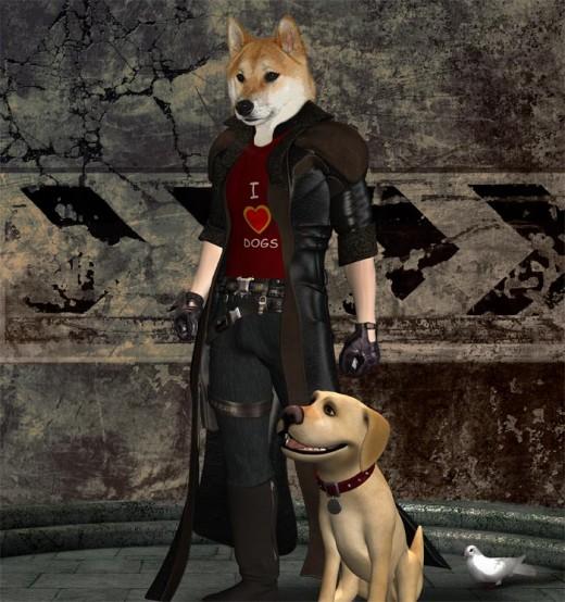 Dog Art - Bad-ass Shiba Inu dog walker.