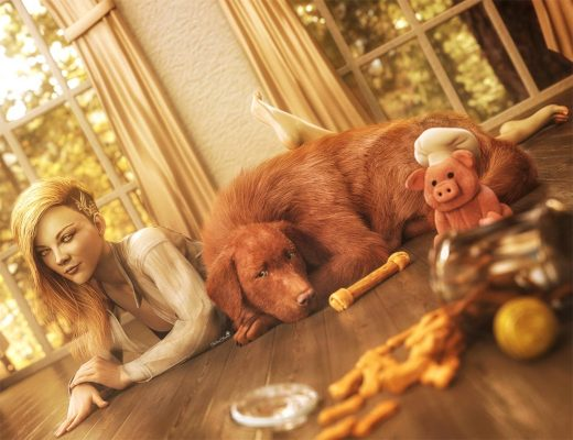 Beautiful blonde girl lying on floor with brown Golden Retriever dog. Dog cookies, treats, and toys strewn on floor. Daz Studio Iray Pin-up art.