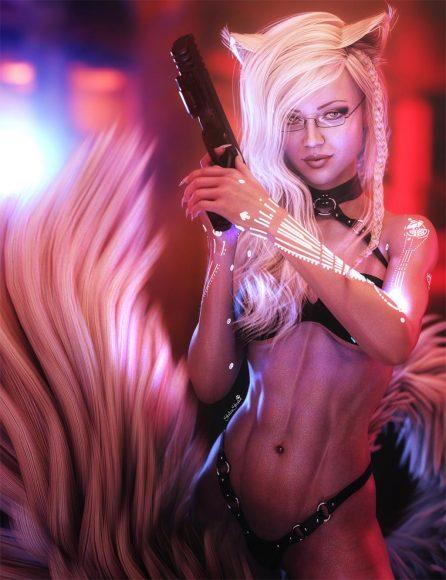Cute blonde cat girl with gun. Fantasy Sci-Fi Art. Daz Studio Iray image.