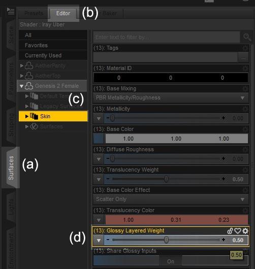 Screenshot for tweaking the skin shader properties of my Genesis 2 Female figure.