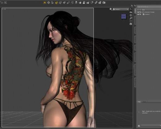 Screen shot of my simple Daz Studio/Iray scene.