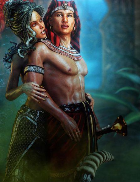 Gorgon Medusa woman whispering into the ear of the King of Egypt (Pharaoh). Fantasy 3D-Art.