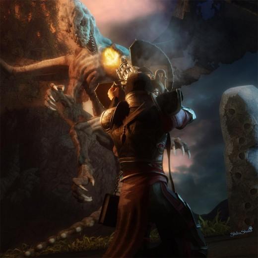 Knight in armor shooting a steampunk gun at a dragon. Night scene.