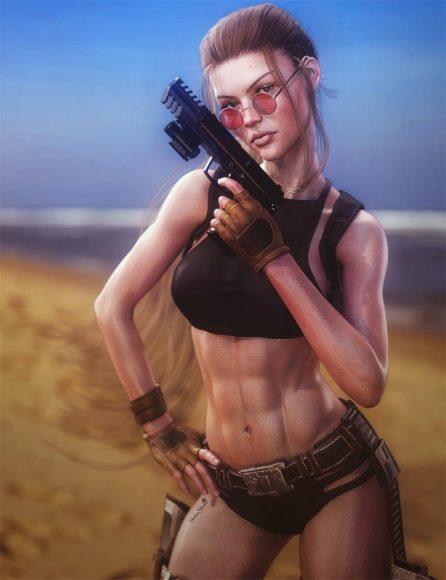 Lara Croft with gun and black bikini swimsuit standing on a beach. Tomb Raider game fan-art. Daz Studio Iray image.