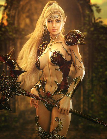 Blonde  sexy elf girl with staff. Fantasy woman art. Daz Studio Iray image.
