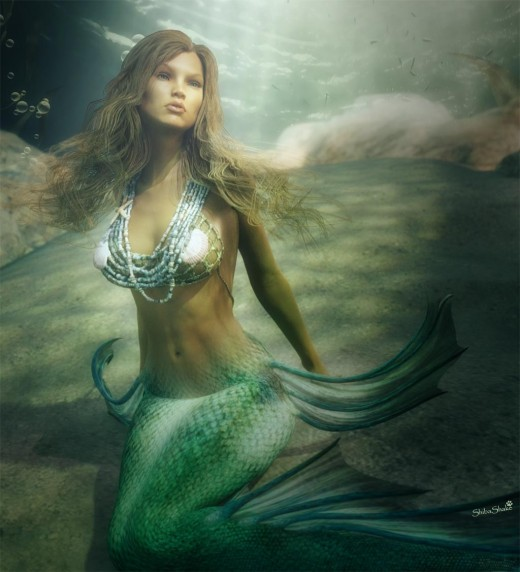 Underwater mermaid with real caustics from the Daz Studio Iray renderer.