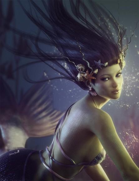 Underwater mermaid with purple hair, purple skin, and purple tinted tail.