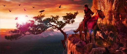 Using Western Outlaw for Genesis 2 Male, DAZ Horse 2 by Daz Originals.