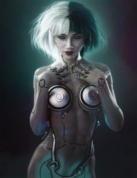 Resulting cyborg girl fantasy image when blending mode is set to Darken.